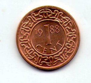 Суринам 1 цент 1988 №207