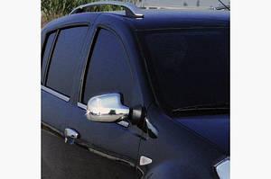 Накладки на зеркала (2 шт) Полированная нержавейка - Dacia Sandero 2007-2013 гг.