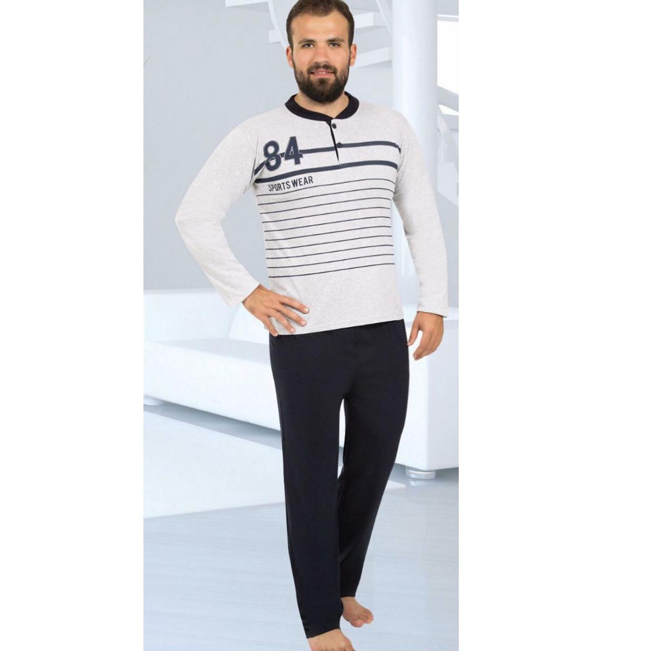 Пижама мужская хлопковая серая с брюками 84 Турция M-2XL, костюм для дома