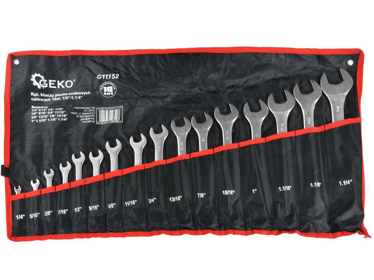 """Набор ключей дюймовых комбинированных 16 шт. Geko 1/4 """"-1,1 / 4"""""""
