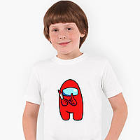 Футболка дитяча Амонг Червоний Ас (Among Us Red) Білий (9224-2417), фото 1