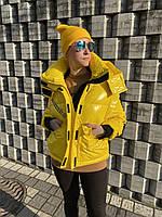 Пуховик куртка бомбер зимняя женская короткая спортивная желтая молодежная модная легкая теплая