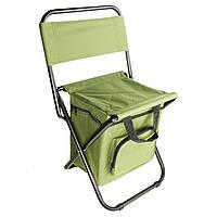 Складной стул для рыбалки, пикника, кемпинга, отдыха на природе с термосумкой, хаки
