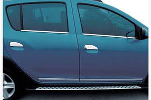Накладки на ручки (4 шт, нерж.) OmsaLine - Итальянская нержавейка - Dacia Logan MCV 2013↗ гг.