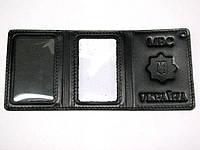 Обкладинка на посвідчення Поліції потрійна чорна еліт