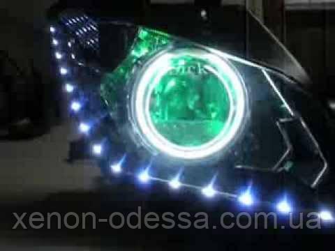 ЗЕЛЕНЫЕ Дьявольские Глазки для подсветки би-линз mini H1, G5 и других / Devil Eyes for Projector Lens (GREEN)
