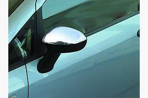 Накладки на зеркала (2 шт., нерж.) OmsaLine - Итальянская нержавейка - Fiat Linea 2006↗ и 2013↗ гг.