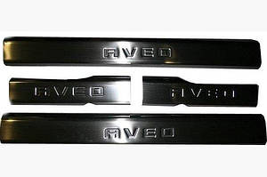 Накладки на внутр. пороги Carmos (4 шт, нерж.) - Chevrolet Aveo T250 2005-2011 гг.