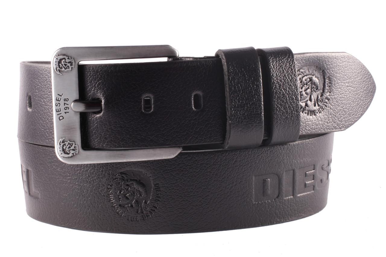 Diesel №5 кожаный классический ремень мужской чёрный