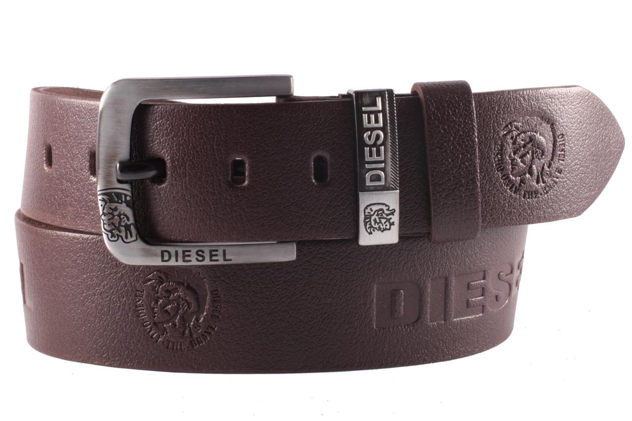 Diesel №5 кожаный классический ремень мужской коричневый
