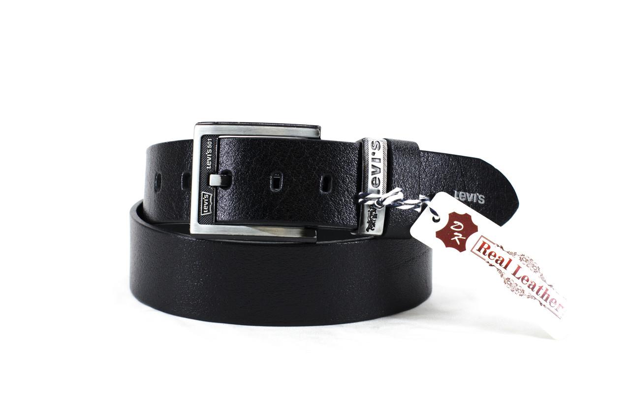 Кожаный черный ремень в стиле Levis №1 black belt