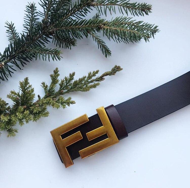 Ремень в стиле Fendi золотая пряжка