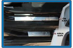 Накладки на пороги OmsaLine (4 шт, нерж) - Peugeot 301