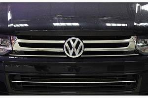 Накладки на решетку (Omsa, 4 шт, нерж) - Volkswagen T5 рестайлинг 2010-2015 гг.