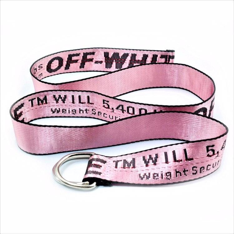 Трендовый ремень в стиле Off-White Унисекс Розовый