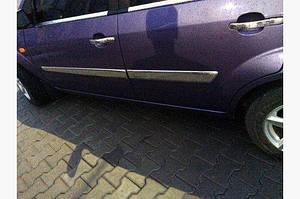 Молдинг дверной (4 шт, нерж) 2002-2005, OmsaLine - Итальянская нержавейка - Ford Fiesta 2002-2008 гг.