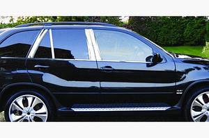 Молдинги стоек дверных (8 шт, нерж.) - BMW X5 E-53 1999-2006 гг.