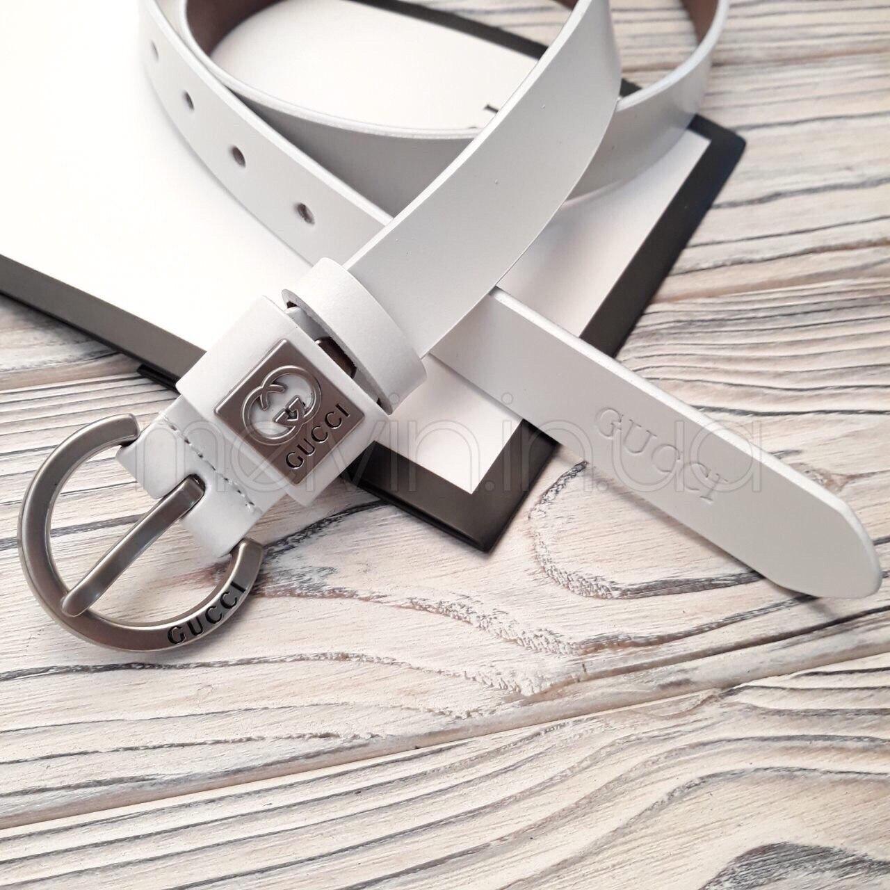 Ремень белый кожаный в стиле Gucci