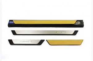 Накладки на пороги (4 шт) Exclusive - Chevrolet Spark 2004-2009 гг.