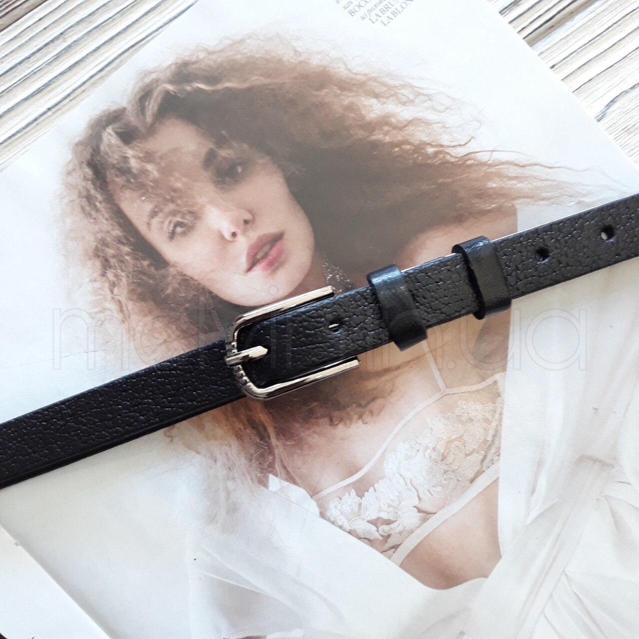 Тонкий женский кожаный ремешок Черный