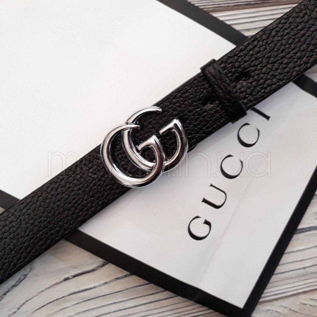 Женский кожаный ремень Gucci реплика Черный с серебряным логотипом