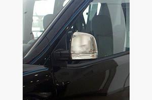 Накладки на зеркала (2 шт) OmsaLine - Хромированный пластик - Fiat Doblo III nuovo 2010↗ и 2015↗ гг.