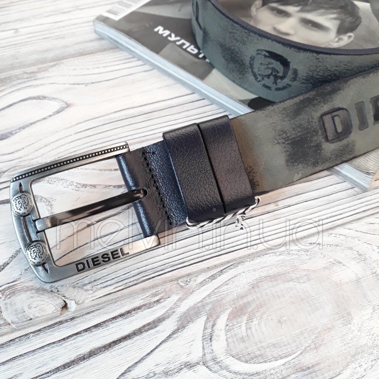 Ремень кожаный в стиле Diesel серый реплика
