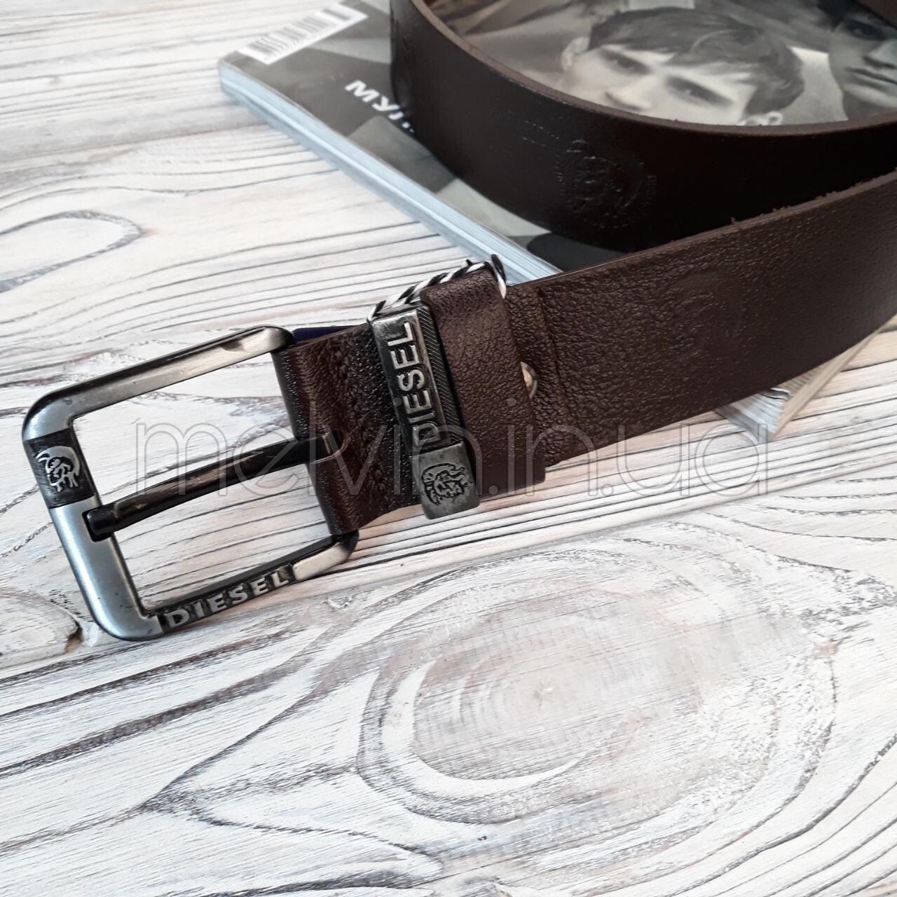 Ремень кожаный в стиле Diesel коричневый реплика