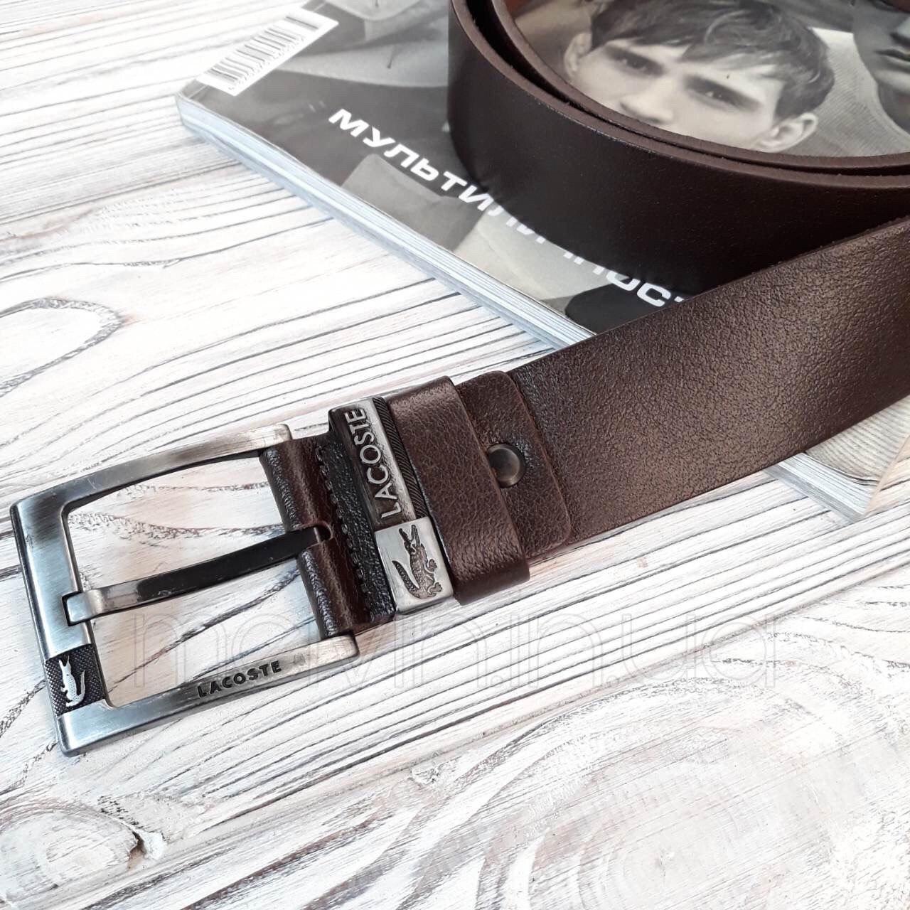 Ремень кожаный в стиле Lacoste коричневый реплика