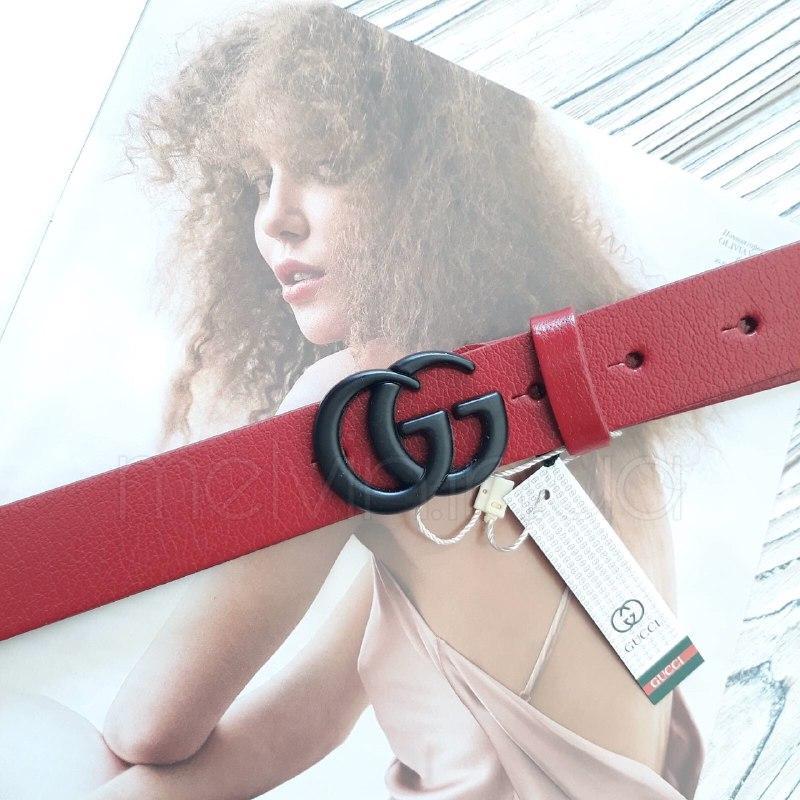 Женский кожаный ремень Gucci реплика Красный с черным логотипом
