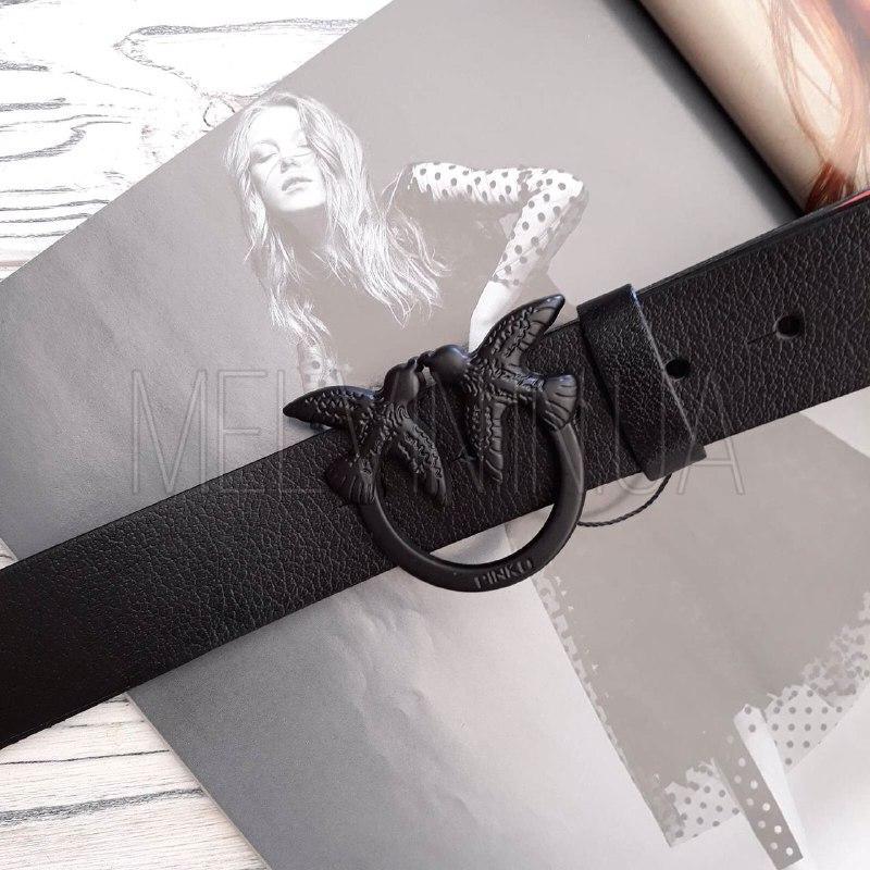 Женский кожаный ремень Pinko реплика Черный с черным логотипом
