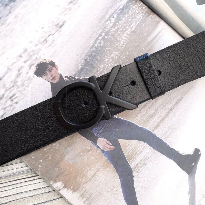 Мужской кожаный ремень Calvin Klein реплика Черный с черным логотипом