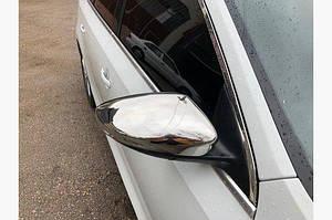 Накладки на зеркала (2 шт, нерж) OmsaLine - Итальянская нержавейка - Volkswagen Jetta 2011-2018 гг.