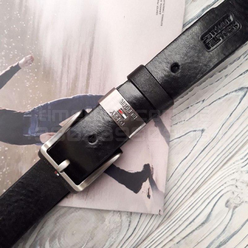 Мужской кожаный ремень Tommy Hilfiger Черный AAA Copy