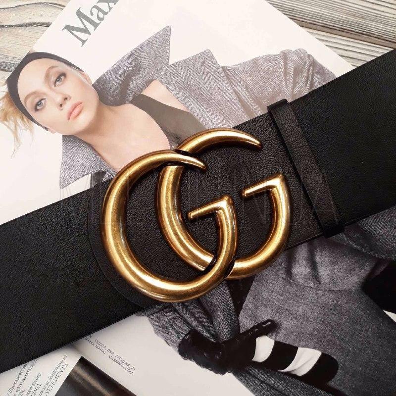 Женский кожаный ремень Gucci реплика Черный с золотым логотипом