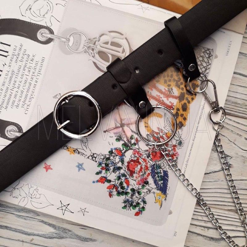Кожаный ремень с серебристым кольцом и цепочкой Черный