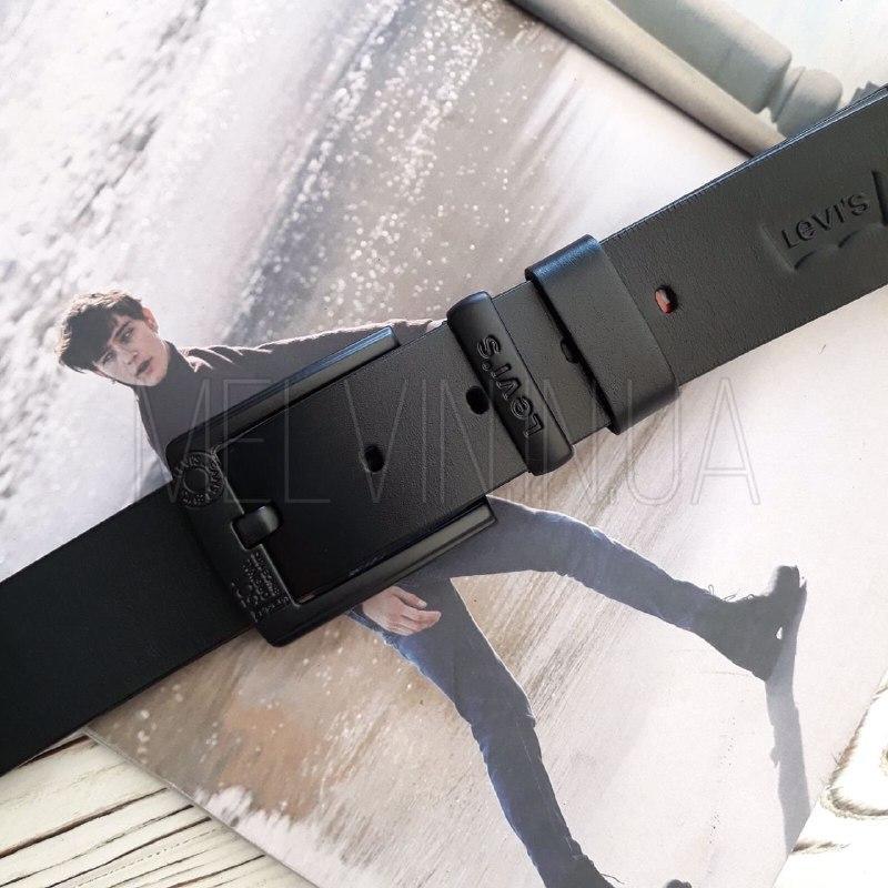 Кожаный ремень Levi's реплика  Черный
