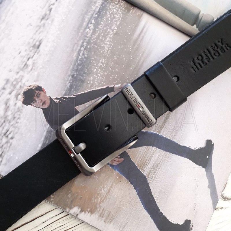 Кожаный ремень Tommy Hilfiger реплика Черный