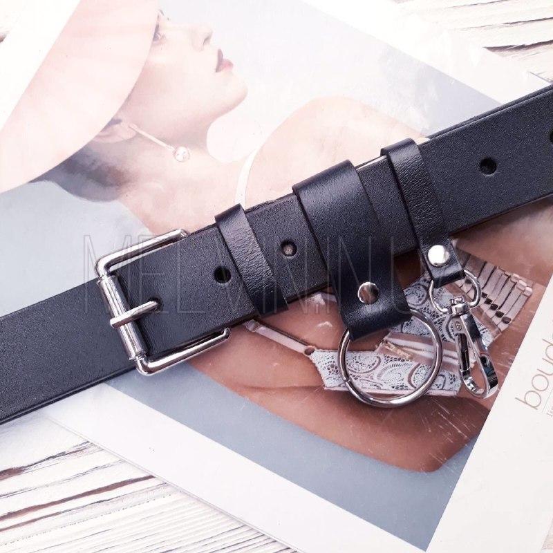 Кожаный ремень с серебристым кольцом Синий