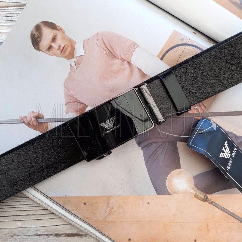 Кожаный ремень Giorgio Armani реплика с пряжкой автоматом Черный