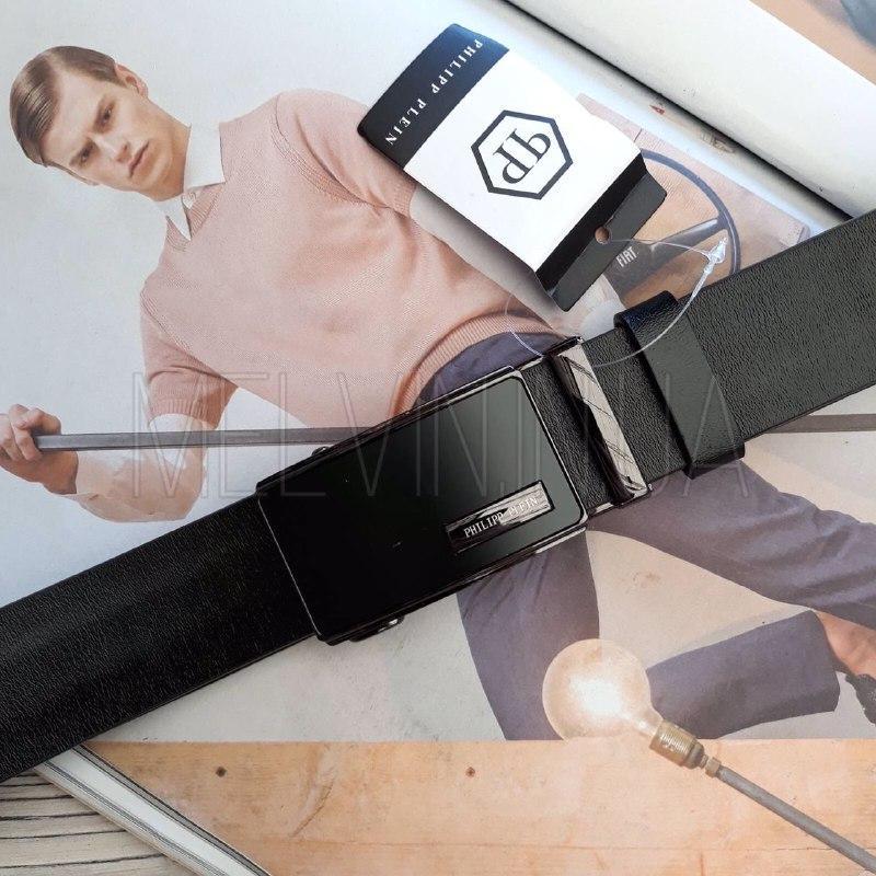Кожаный ремень Philipp Plein реплика с пряжкой автоматом Черный