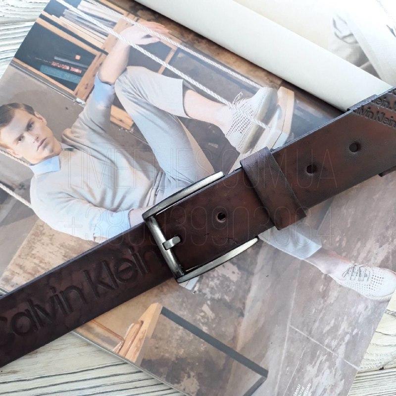 Ремень кожаный Calvin Klein реплика Коричневый