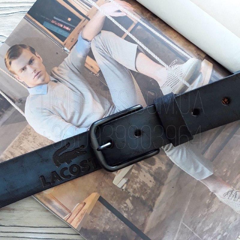 Мужской кожаный ремень Lacoste реплика Черный