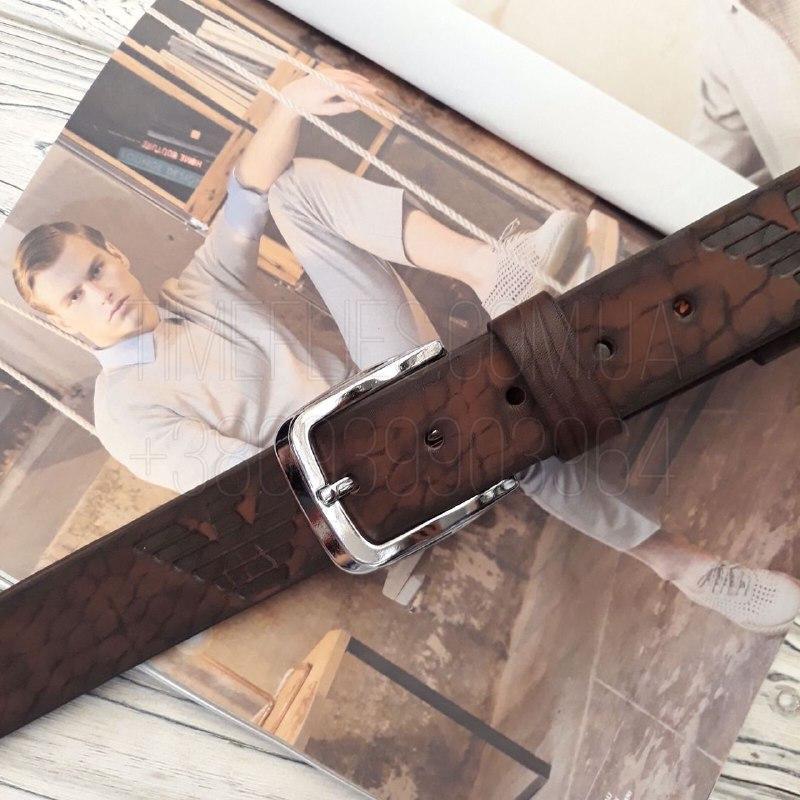Кожаный ремень Giorgio Armani реплика Коричневый