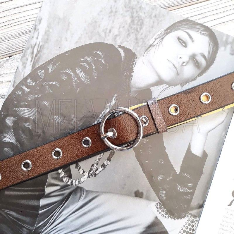 Женский кожаный ремень с люверсами Темно-коричневый