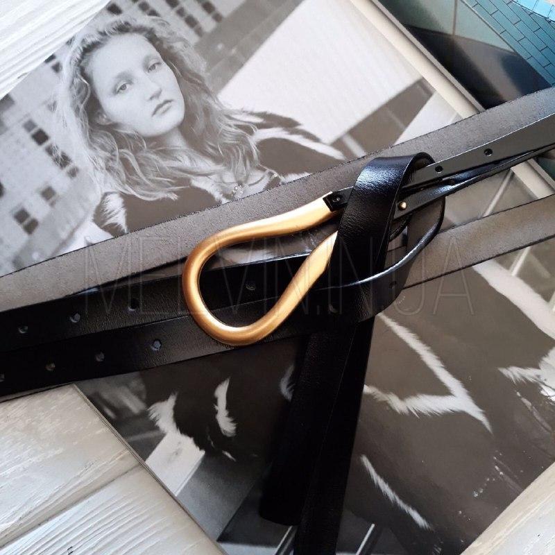 Женский кожаный ремень Боттега Венета реплика Черный