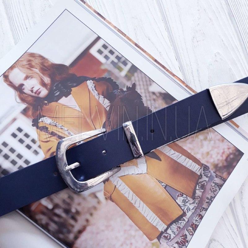 Женский кожаный ремень с металлическим хвостиком Синий