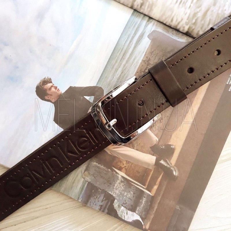 Мужской кожаный ремень Кельвин Кляйн реплика Коричневый