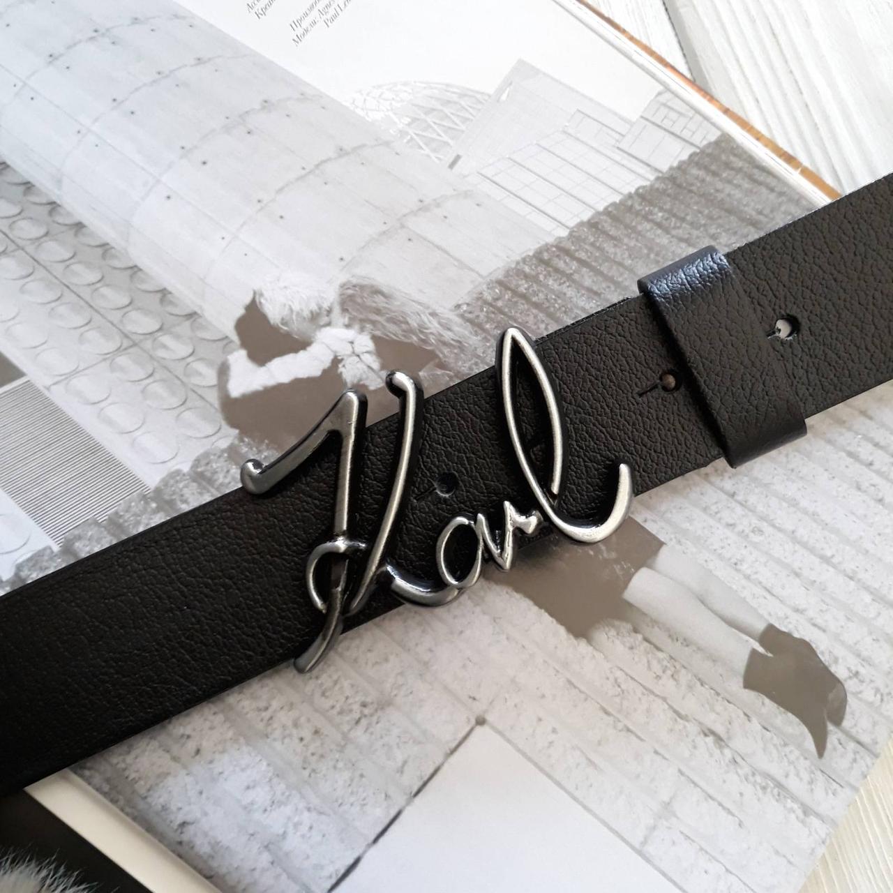 Мужской кожаный ремень Карл Лагерфельд реплика Черный