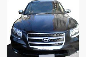 Накладка на решетку (2006-2010, 2 шт, нерж.) - Hyundai Santa Fe 2 2006-2012 гг.